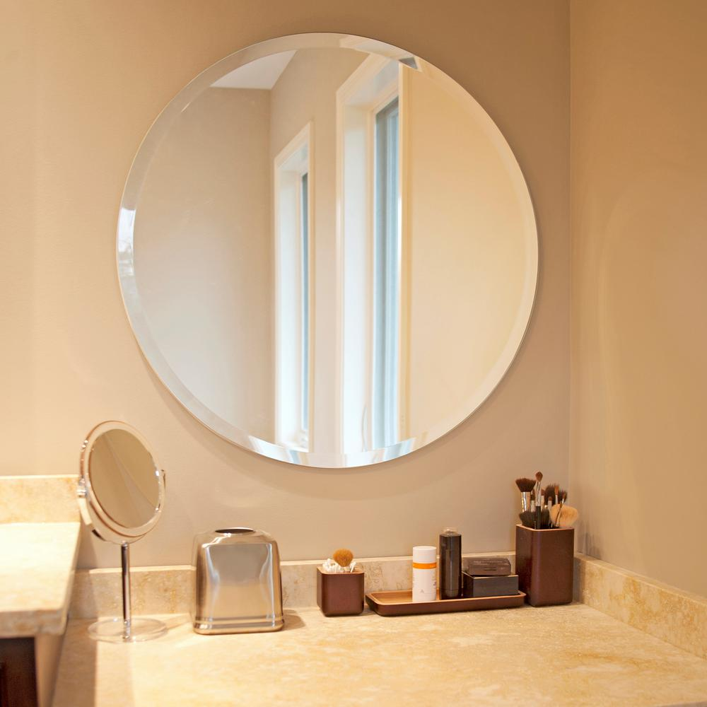 Beautiful round frameless mirror 28inx28in bevel accenting - Frameless beveled mirrors for bathroom ...