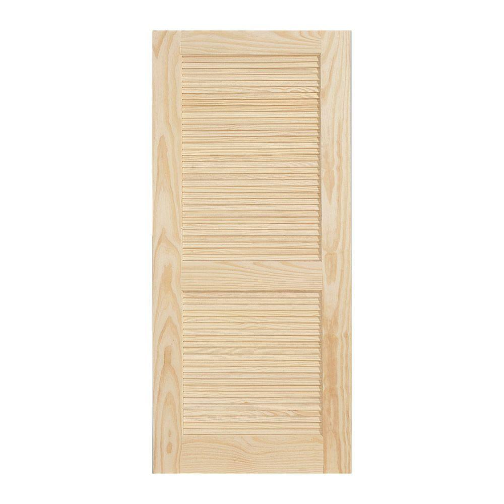 36 In. X 80 In. Pine Unfinished 2-Panel Full Louver Wood