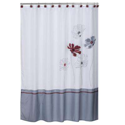 Scarlet 72 in. Floral Shower Curtain