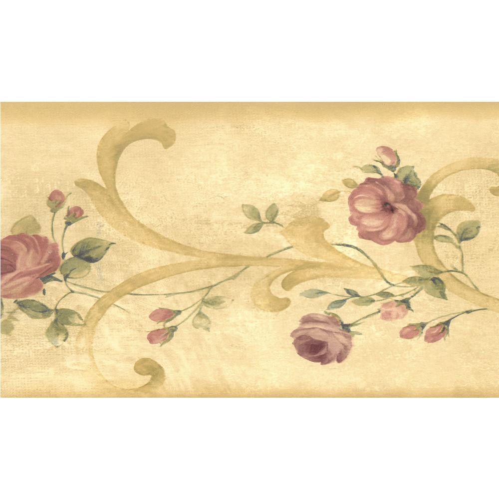 Dundee Deco Falkirk Brin Bloomed Roses On Damask Scroll Beige Brown Mauve Wallpaper Border Bd6267 The Home Depot