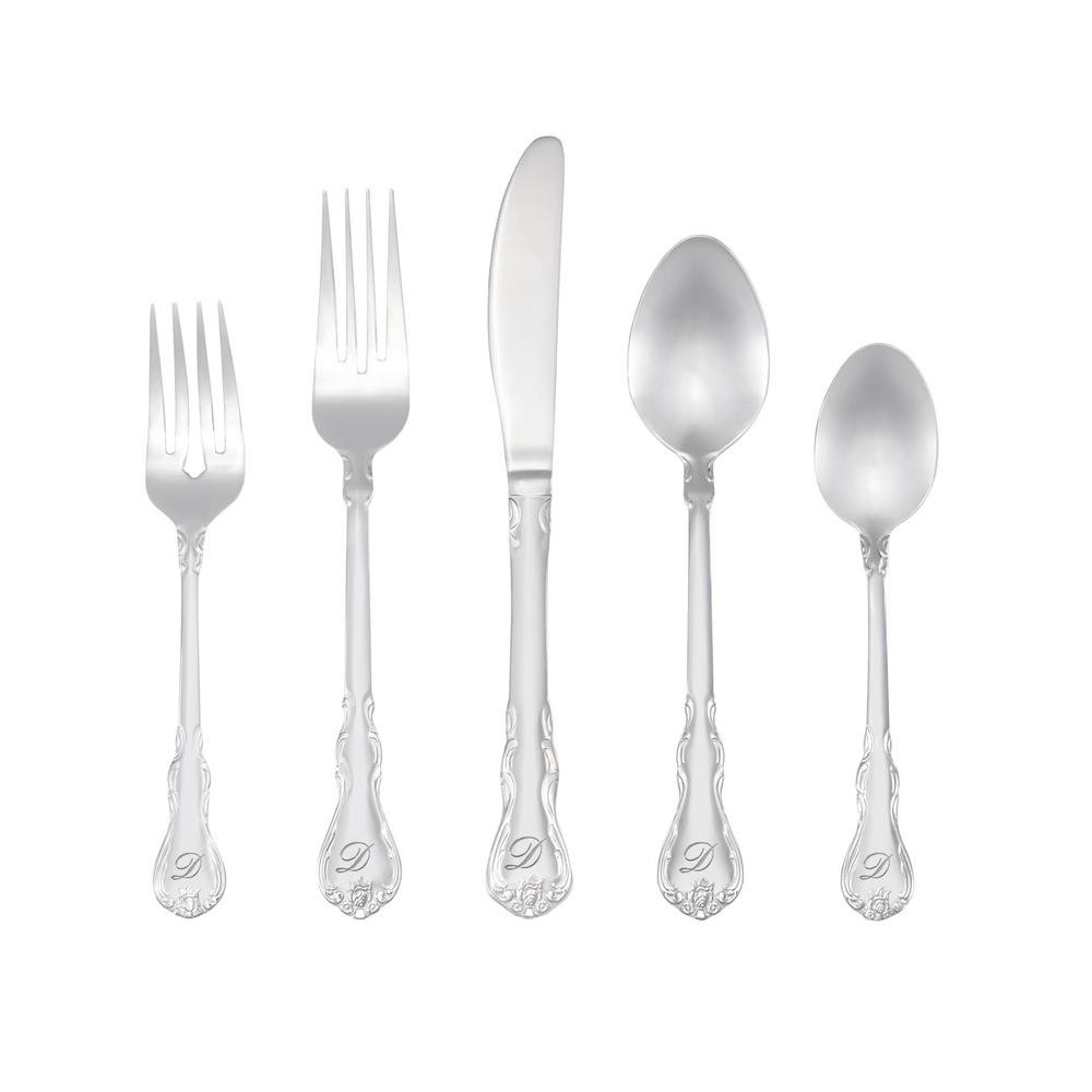 Bouquet Monogrammed Letter D 46-Piece Silver Stainless Steel Flatware Set