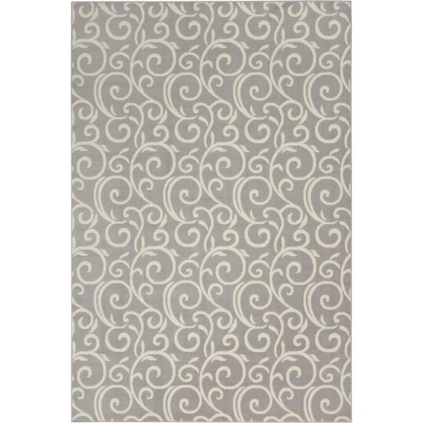 Grafix Grey Abstract Botanical Vines 6 ft. x 9 ft. Area Rug