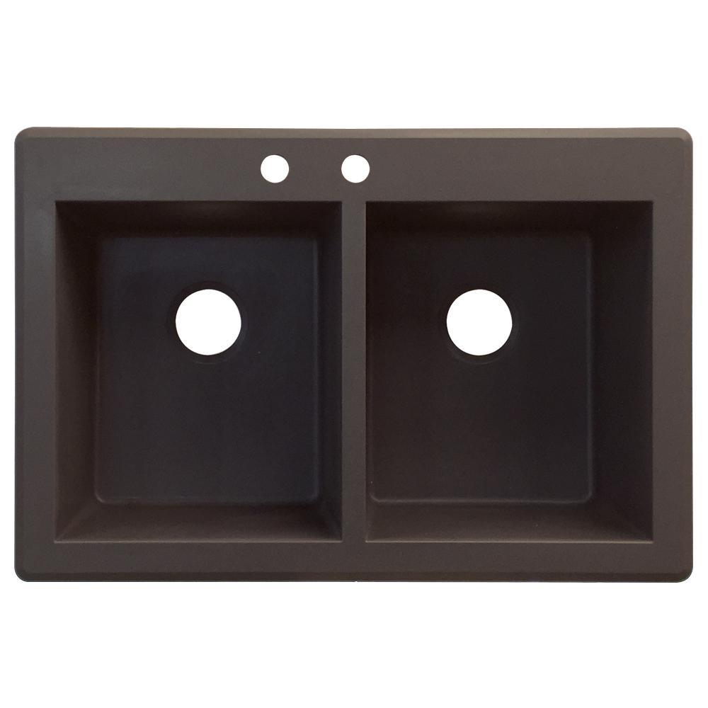 Radius Drop-in Granite 33 in. 2-Hole Equal Double Basin Kitchen Sink in Espresso