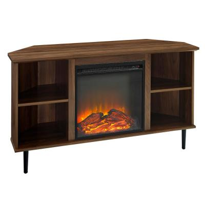 48 in. Dark Walnut Wood Corner TV Stand Fits TVs up to 55 in. with Fireplace Insert
