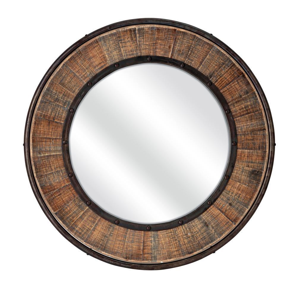 Rustic Round Multi Tone Wood Mirror With Metal Trim