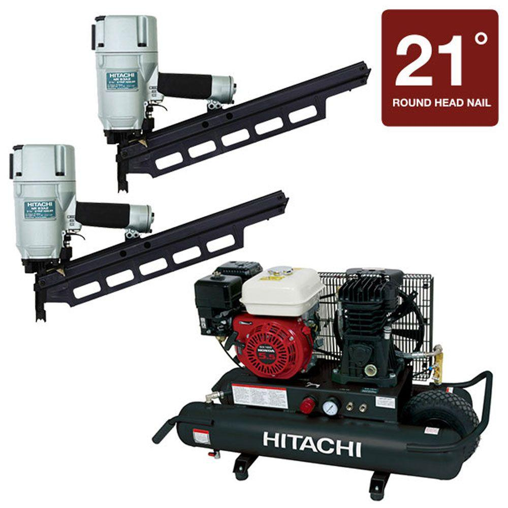 Hitachi 3-Piece Two 3-1/4 in. Plastic Collated Framing Nailer and 8-Gal. Gas Wheel Compressor Kit-DISCONTINUED