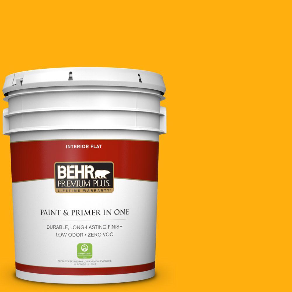 5 gal. #310B-7 Saffron Thread Zero VOC Flat Interior Paint