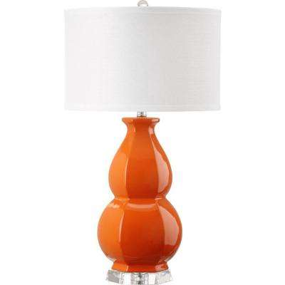 Juniper 27.5 in. Orange Table Lamp with White Shade