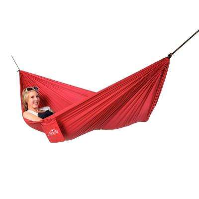 7-1/2 ft. Portable Single Ultralight Hammock in Red with Tree Straps