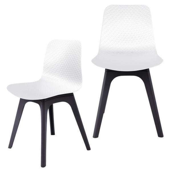CozyBlock Hebe Series White Dining Shell Side Chair Molded Plastic with
