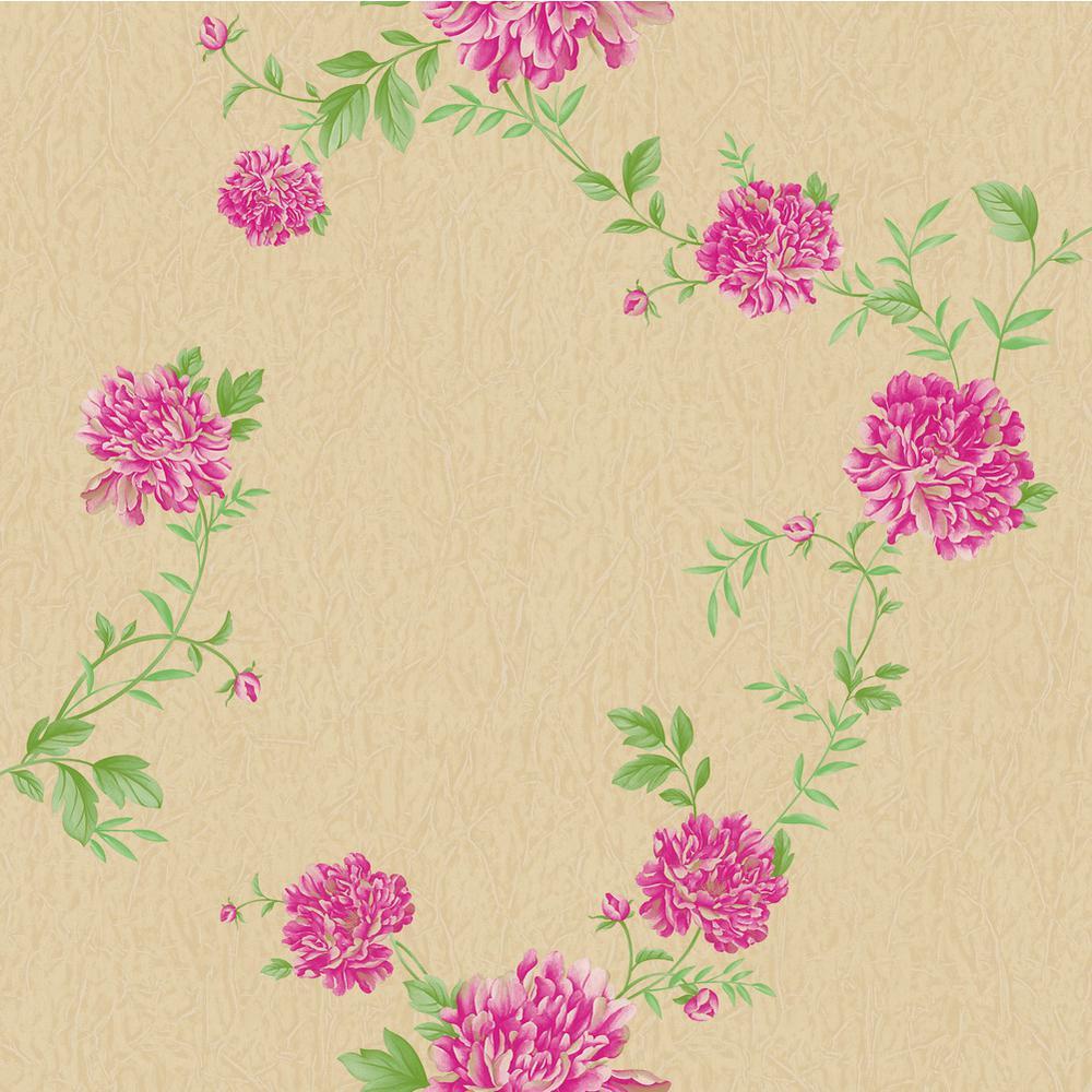 Falkirk Ophia Hot Pink Brown Peonies Vinyl Peelable Wallpaper