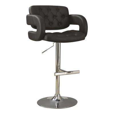 Rec Room Adjustable Height Black Faux Leather Bar Stool with C-shaped Arms