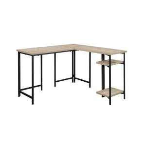 47 in. L-Shaped Charter Oak Computer Desk with Open Storage