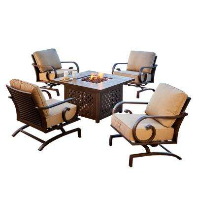 Milano 5-Piece Patio Fire Pit Conversation Set with Tan Cushions