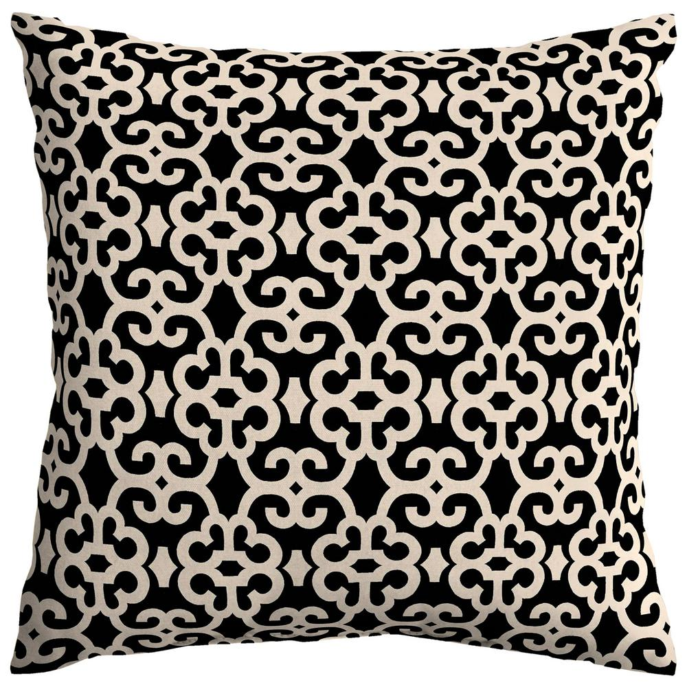 Hampton Bay Black/Oatmeal Trellis Square Outdoor Throw Pillow