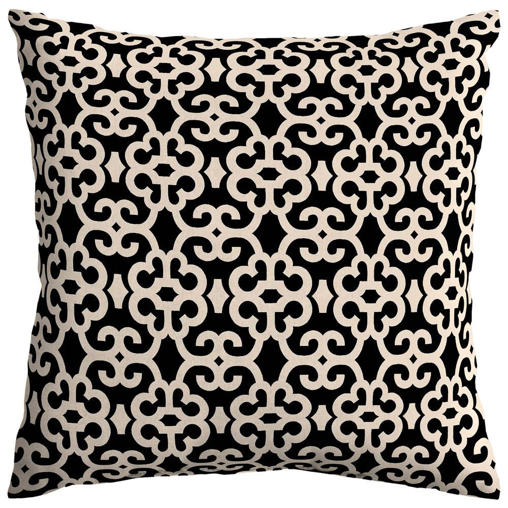 Black/Oatmeal Trellis Square Outdoor Throw Pillow