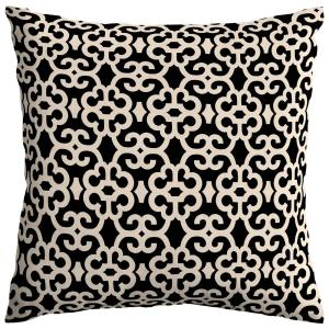 Black/Oatmeal Trellis Square Outdoor Throw Pillow