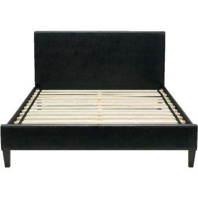 Downtown Black Leather Queen Platform Bed