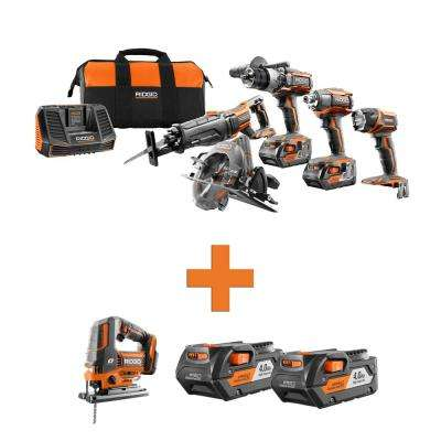 18-Volt Lithium-Ion Cordless 5-Tool Combo w/Bonus OCTANE Brushless Jig Saw & (2) 4.0Ah Battery Packs
