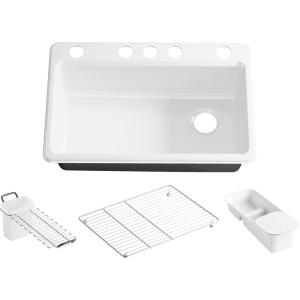 Riverby Workstation Undermount Cast Iron 33 in. 5-Hole Single Bowl Kitchen Sink Kit in White with Accessories