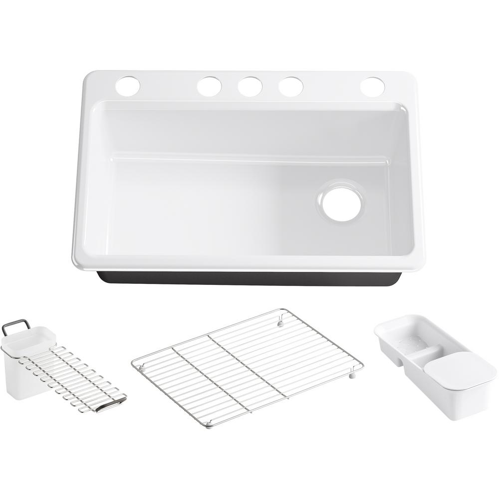 KOHLER Riverby Undermount Cast Iron 33 in. 5-Hole Single Bowl Kitchen Sink with Accessories in White