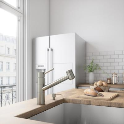 Branson Single-Handle Pull-Out Sprayer Kitchen Faucet in Stainless Steel