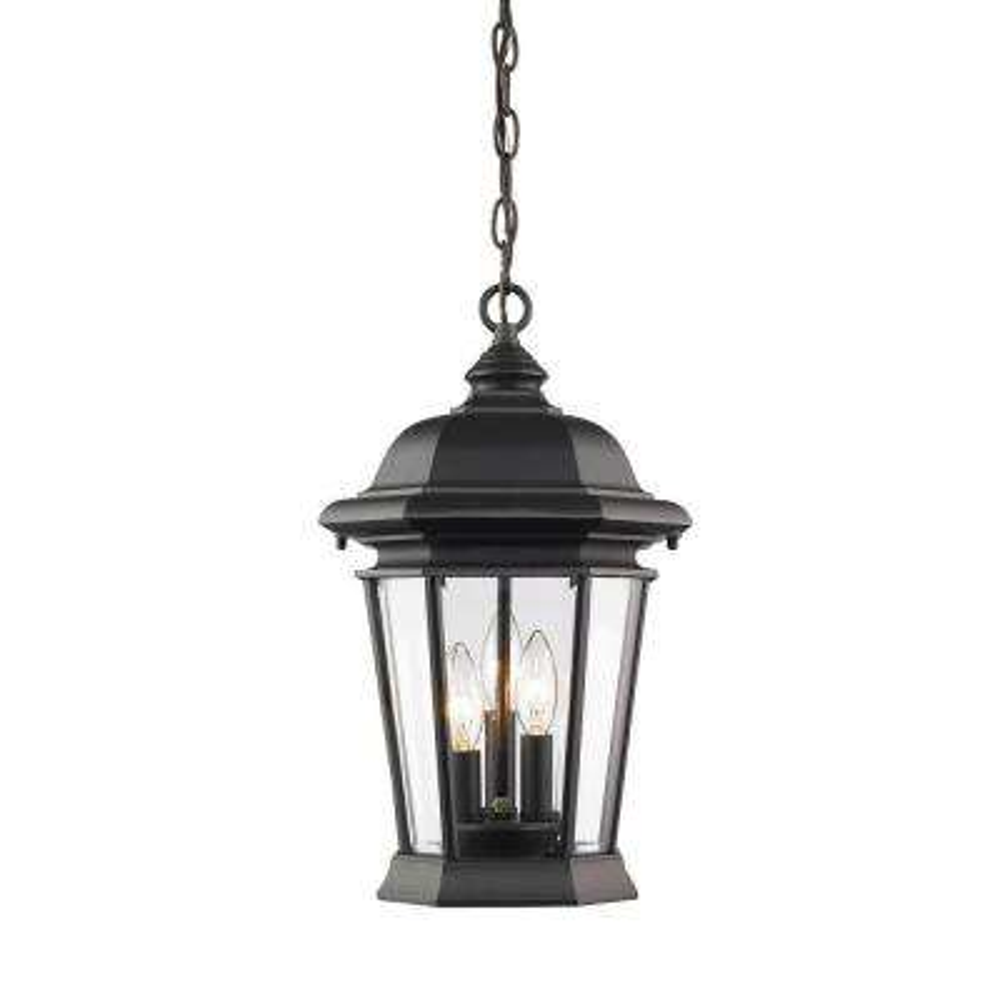 Presley 3-Light Black Outdoor Hanging Lantern