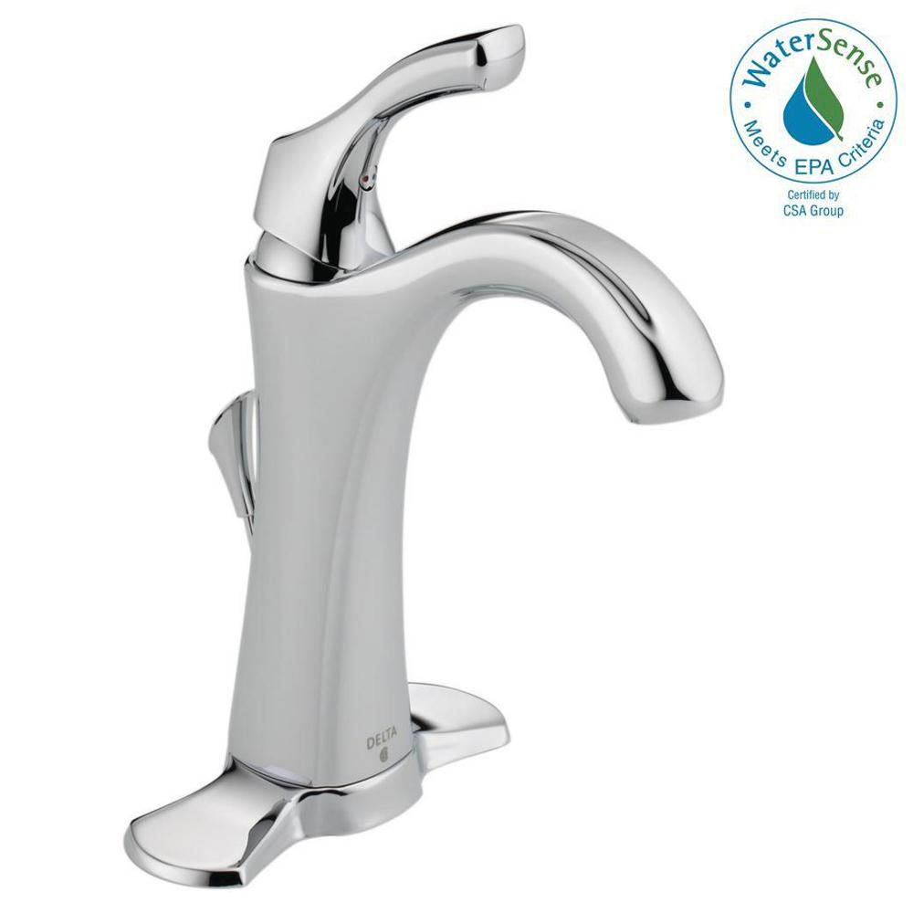 delta addison single hole bathroom faucet with metal drain assembly in chrome