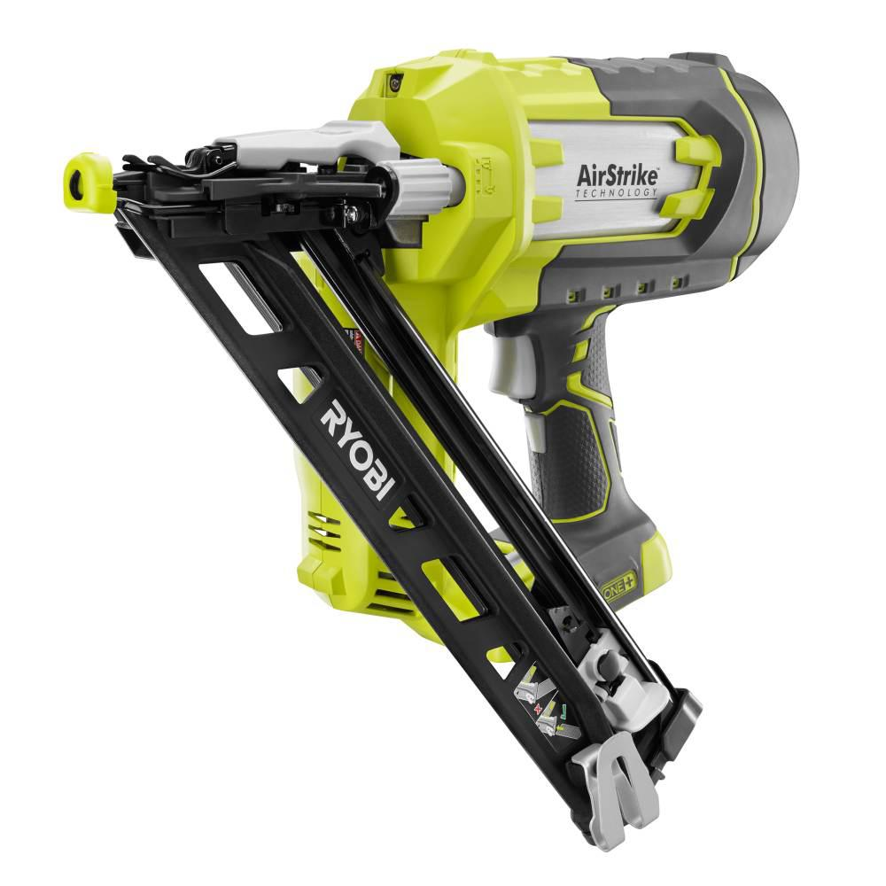Ryobi 18 Volt One Lithium Ion Cordless Airstrike 15 Gauge Angled Finish Nailer Tool Only With Sample Nails