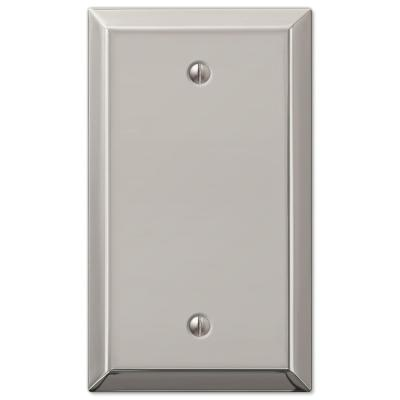 Metallic 1 Gang Blank Steel Wall Plate - Polished Nickel