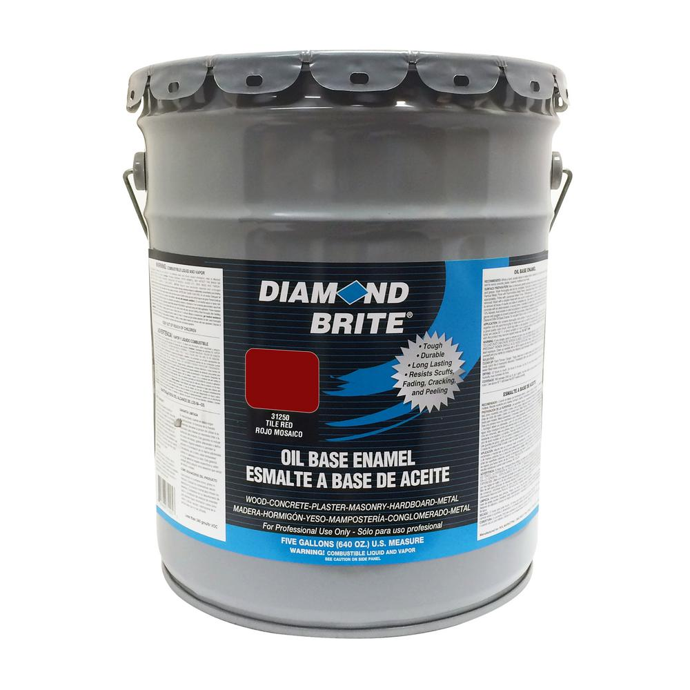 Diamond Brite Paint 5 gal. Tile Red Oil Base Enamel Interior/Exterior Paint