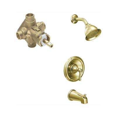 Kingsley Single-Handle 1-Spray PosiTemp Tub and Shower Faucet Trim Kit with Valve in Polished Brass (Valve Included)