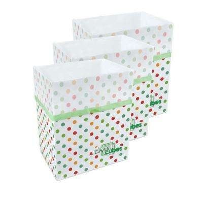 10 gal. Polka Dot Pattern Trash Can and Recycling Bin (3-Pack)
