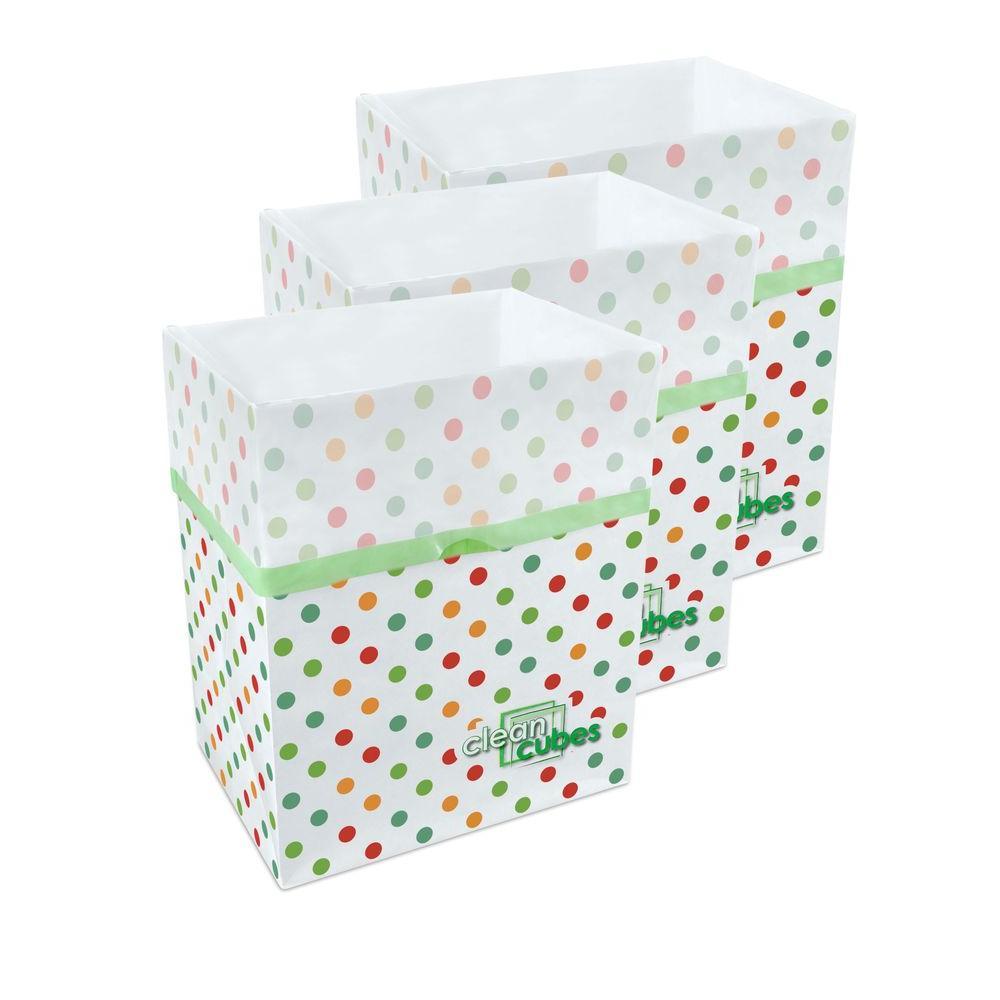 10 gal. Polka Dot Pattern Trash Can and Recycling Bin (3-Pack)