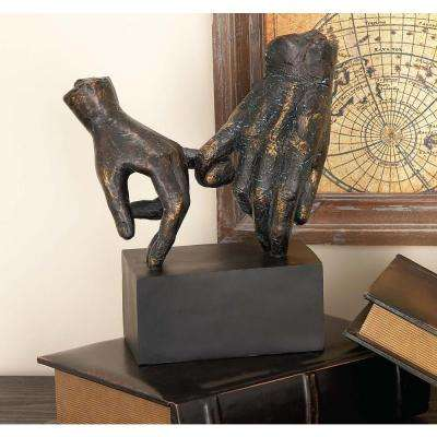 10 in. x 9 in. Holding Hands Decorative Figurine in Colored Polystone