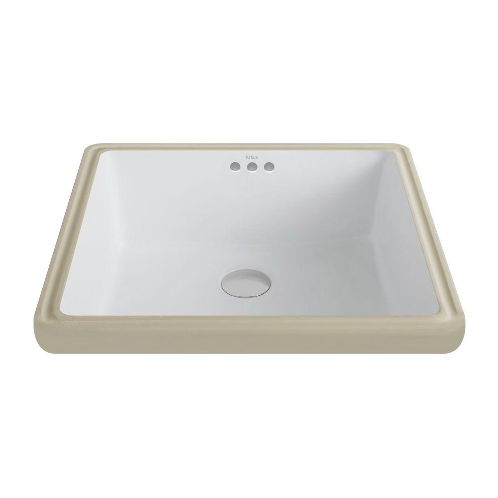 Elavo Square Ceramic Undermount Bathroom Sink in White with Overflow