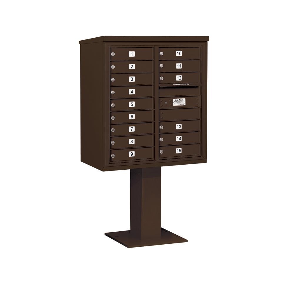 3400 Horizontal Series 15-Compartment Pedestal Mount Mailbox