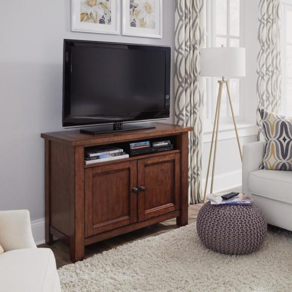 Homestyles Tahoe 44 In Aged Maple Wood Tv Stand Fits Tvs Up To 50 In With Storage Doors 5412 09 The Home Depot