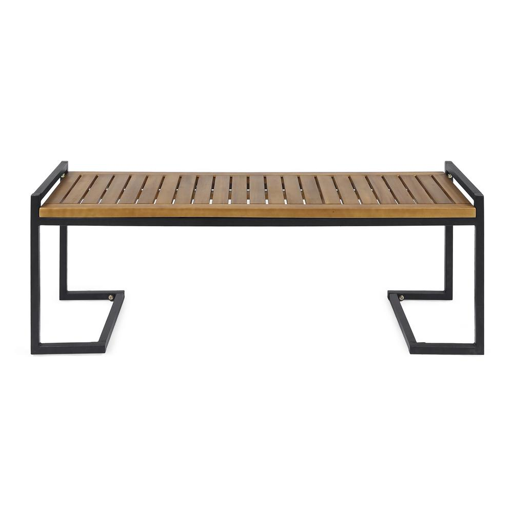 Noble House Hopkins 54 in. Teak Brown Wood and Black Metal Outdoor Bench