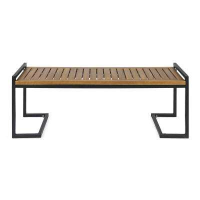 Hopkins 54 in. Teak Brown Wood and Black Metal Outdoor Bench