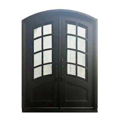 62 in. x 81 in. Matte Black Right-Hand Inswing 2 Lite Tempered Rainstorm Glass Iron Prehung Front Door