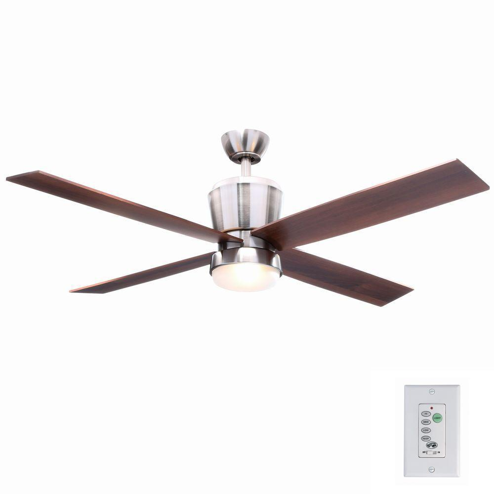 Hampton Bay Trusseau 52 In Indoor Brushed Nickel Ceiling Fan With Light Kit And Remote