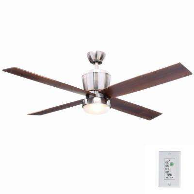 Trusseau 52 in. Indoor Brushed Nickel Ceiling Fan with Light Kit and Remote Control