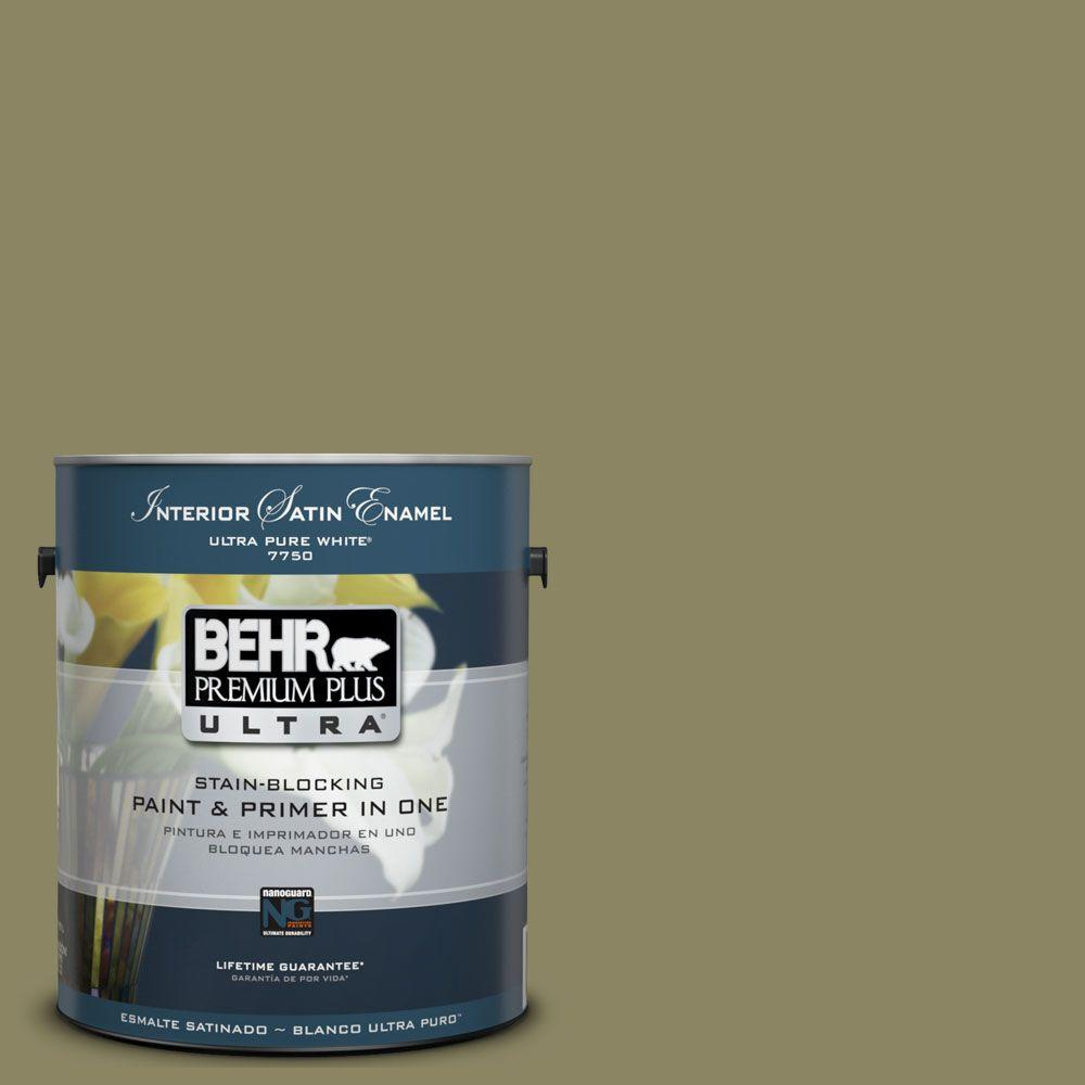 BEHR Premium Plus Ultra 1-Gal. #UL200-19 Oregano Spice Interior Satin Enamel Paint