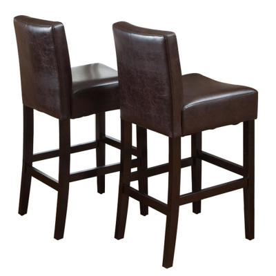 Lopez 29.5 in. Brown Leather Bar Stool (Set of 2)