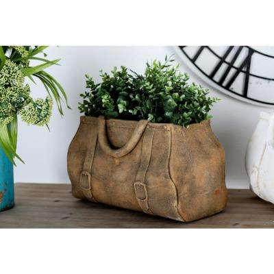 10 in x 17 in. Distressed Tan Concrete Purse Planter
