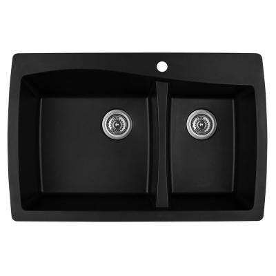 Drop-In Quartz Composite 34 in. 1-Hole 60/40 Double Bowl Kitchen Sink in Black