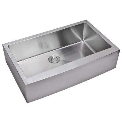 Farmhouse Apron Front Small Radius Stainless Steel 36 in. Single Bowl Kitchen Sink in Satin