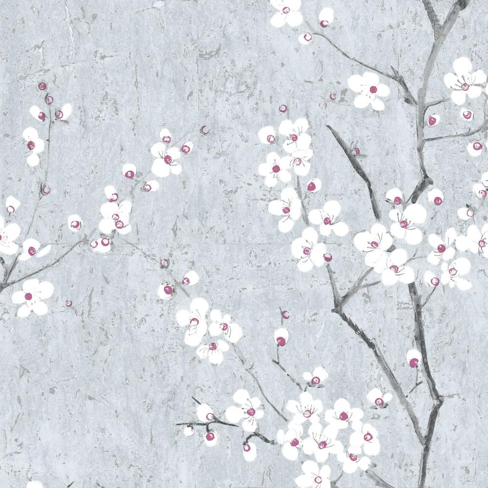 Graham Brown Kyoto Sakura Pale Blue Silver Pink Wallpaper