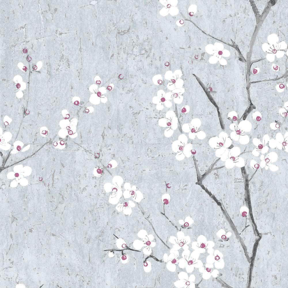 Graham Brown Kyoto Sakura Pale Blue Silver Pink Wallpaper